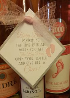 Mini Wine Bottle Favor Tags Baby Shower Favor Tags Give Her A Cheer Baby Feet  Set of 6 Favor Tags baby shower favor Footprint Tags