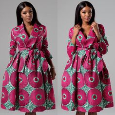 Sexy yet conservative, our African print ankara wrap dress will make you feel ultra feminine this season. ---- FEATURES ---- * Shawl collar wrap midi dress in a bold African fabric * Full skirt with pockets * Tie sash belt * Long sleeve * Cotton, no African Fashion Ankara, African Fashion Designers, Latest African Fashion Dresses, African Dresses For Women, African Print Dresses, African Print Fashion, African Attire, African Wear, African Women