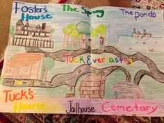 Map of Winnie Foster's world in Tuck Everlasting. Students drew a map documenting key places in the story and then wrote a paragraph for each place explaining its importance to the story.