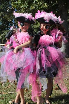 Princess Pirate Halloween costumes for my daughter and her friend and their American Girl dolls