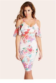 d8d1287f68e3dc Brighten up your look in this cream floral cold shoulder dress with chiffon  frill sleeves and front ruching detail. Complete your look with a pair of  nude ...