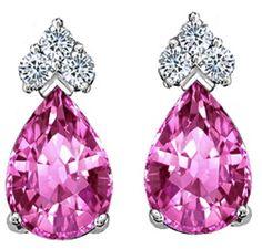 Hot Pink Sapphire Studs