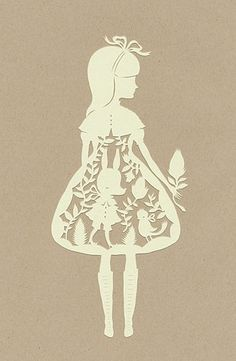 paper cutting art - girl in dress