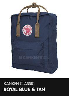 Kanken Classic - Royal Blue and Tan http://www.ilovemykanken.com/shop/products/kanken-classic-royal-blue-tan.htm