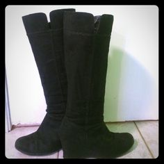 Black suede boots  In in good condition. Super cute. Wedge is 3 inches. FITS SMALL more like an 8. Felicity style Maripe Shoes Heeled Boots