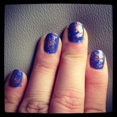 Saran Wrap nails using Illamasqua Cameo and Essie Penny Talk! Thanks @Nicole Boenigk (diary of a mad crafter)!!