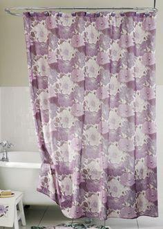 Purple Poppy Floral Bathroom Shower Curtain