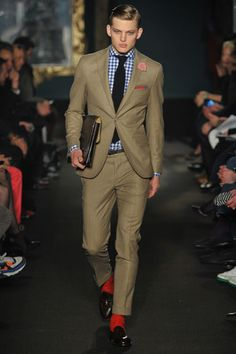 Michael Bastian 2012. Very nice combo and gotta love his signature short pants with an exposed ankle...or bright red sock.
