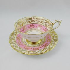 Royal Stafford Tea Cup and Saucer, Pink with Gold Decor, Vintage Bone China Tea Cup Saucer, Tea Cups, Royal Stafford, Vintage Items, Vintage Teacups, China Porcelain, Bone China, Hot Chocolate, Tea Time