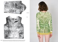 """""""The 'Decay' project explores how traces of time and use can be embedded in textile. By wearing a carbon fibre suit over a white blouse, textile designer Marie Ilse Bourlanges captured the gestures of the body bending, stretching, scratching and rubbing. The transfer imprint on the blouse was then translated into a pattern of lines that ebb and flower across the textile."""" via nextnature [http://www.nextnature.net/2010/07/traces-of-everday-embedded-in-textile/]"""