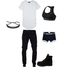 Untitled #5 by gladis-quezada on Polyvore featuring polyvore fashion style NIKE Hollister Co. Marc by Marc Jacobs Timberland