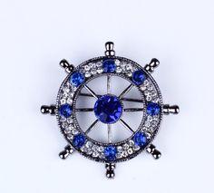 Rhinestone ships wheel brooch