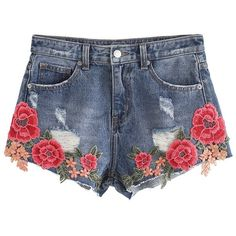 Chicwish Showy Peony Embroidered Denim Shorts ($45) ❤ liked on Polyvore featuring shorts, blue, denim cut offs, blue denim shorts, denim jean shorts, cut-off jean shorts and short cut off jean shorts