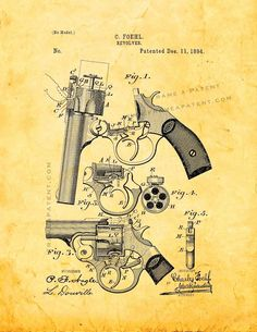 """Revolver Patent Print - Golden Look 5"""" x 7"""" for $7.95"""
