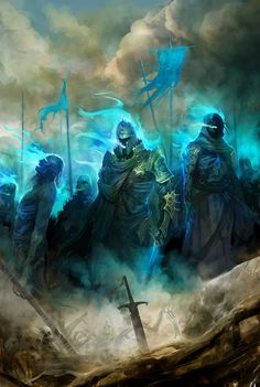 """The Dead are following,"" said Legolas. ""I see shapes of Men and of horses, and pale banners like shreds of cloud, and spears like winter thickets on a misty night. The Dead are following. They have been summoned."""