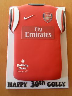 Arsenal Football Jersey Cake by Bakedy Cake. I used a Wilton baking tin for this and cut two strips out of the sides to make the shape Arsenal Jersey, Arsenal Football, Sport Cakes, Happy 30th, Baking Tins, Birthday Cakes, Cake Ideas, Shapes, Sports
