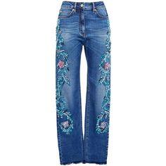 Zuhair Murad Embroidered High Waisted Jeans (€1.220) ❤ liked on Polyvore featuring jeans, zuhair murad, blue denim jeans, blue jeans, zipper jeans and high rise jeans