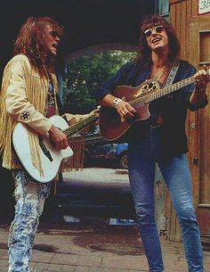 "Jon Bon Jovi & Richie Sambora playing street promotional gig to market their upcoming ""Moscow Peace Festival"" concert in Aug.1989"