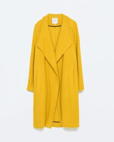 """This is the one """"wow"""" piece that would get anyone throught the winter. Since the color is such an attention getter, I'd go monochromatic underneath. ZARA - WOMAN - WRAP OVERSIZE COAT"""