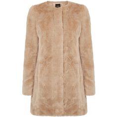 OASIS Longline Fur Coat ($180) ❤ liked on Polyvore featuring outerwear, coats, natural, longline coat, oasis coat, fur coat and beige coat