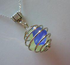 Beach Glass Bauble Necklace - Bright Seaglass  Sea Glass Jewelry