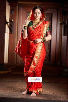 the beautiful red nauvari saree - Marathi style Maharashtrian Saree, Marathi Saree, Marathi Bride, Saree Draping Styles, Saree Styles, Traditional Sarees, Traditional Dresses, Indian Dresses, Indian Outfits