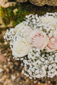 Wedding of the Week: Rebecca Garson and Steve Roper Rose Wedding, Wedding Flowers, Dream Wedding, Wedding Dreams, Gypsophila Wedding Bouquet, Wedding Bouquets, White And Pink Roses, Pink Bouquet, Maid Of Honor