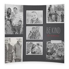 Be Kind Curved Glass Print, 7 x 7 inches, Curved, Black