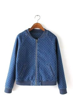 Denim Quilted Bomber Jacktet with Grid Pattern from mobile - US$39.95 -YOINS