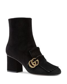 Gucci Marmont Block Heel Booties  | Suede upper, leather lining, leather sole | Made in Italy | Fits true to size, order your normal size | Available in full and half sizes | Suede ankle boot with gol