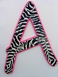 Zebra,Pink,letter A