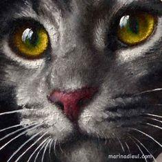 Detail of a cat trompe-l'oeil in oil painting. Marina Dieul