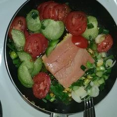 What are you all having for lunch?  I'm whipping up a quick one pan Salmon and Roasted Tomato Tomatillo and Scallion Stir Fry.