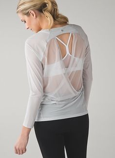 Lululemon If Youre Lucky Long Sleeve Tee II - Silver Spoon - lulu fanatics Dance Outfits, Cute Outfits, Backless Top, Athletic Outfits, Athletic Clothes, Workout Wear, Fitness Fashion, Active Wear, Long Sleeve Tees