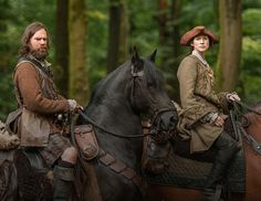 Claire (Caitriona Balfe) and Murtagh (Duncan LaCroix) in The Search of Outlander on Starz via Outlander TV News