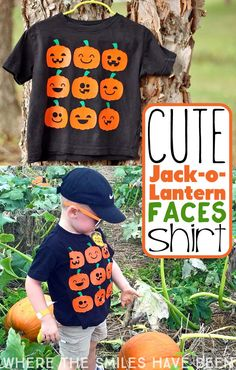This is just the perfect shirt to wear to the pumpkin patch!! Cute Halloween Jack-O-Lantern Faces Shirt | Where The Smiles Have Been #Halloween #Silhouette