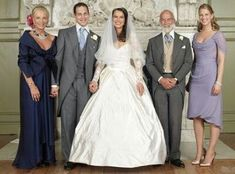 Wedding of Lord Frederick Windsor and Sophie Winkleman. From left: Princess Michael of Kent, Lord Frederick, Sophie, Prince Michael of Kent, Lady Gabriella Windsor. Famous Wedding Dresses, Royal Wedding Gowns, Royal Weddings, Lord Frederick Windsor, Royal Tiaras, Royal Jewels, Adele, Sophie Winkleman, Prince Michael Of Kent