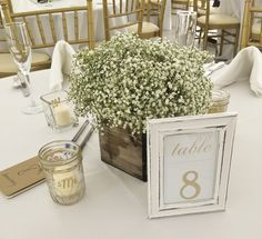 #babiesbreath #centerpiece | Pave Garden cluster of babies breath in a wooden box. #weddingarrangements #weddingflowers