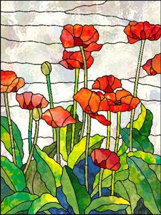 Stained glass Red-Orange poppies
