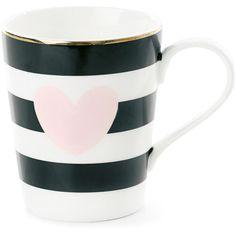 Miss Étoile Rose Heart Ceramic Coffee Mug ($20) ❤ liked on Polyvore featuring home, kitchen & dining, drinkware, cozinha, mugs, heart coffee mug, striped coffee mugs, black and white mugs, ceramic mugs and striped mug
