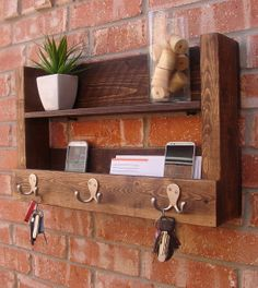 this looks fairly easy to copy....nice rustic idea. Industrial Rustic Modern 10 Bottle Wall Mount Wine by KeoDecor
