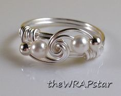 Pearl Ring Wire Wrapped Jewelry Handmade Wire Ring by theWRAPstar, $14.95