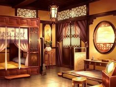 Episode Interactive Backgrounds, Episode Backgrounds, Chinese Buildings, Chinese Architecture, Seshomaru Y Rin, Anime Places, Chinese Interior, Fantasy Places, Animation Background