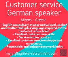 #German speaker, customer service #job, based in #Athens, #Greece.  Send your CV (in English) at marc@highfive-recruitment.com  #recruitment #hiring #candidate #business #clientservices #success #jobingreece #highfiveyourcareer #career #greatjob #customerservice #customerserviceadvisor #highfiveyourjob