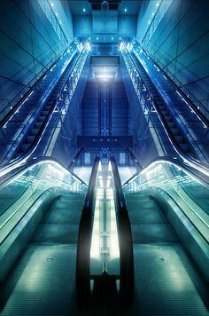 Escalators, Copenhagen underground, Denmark // Pierre Ekman