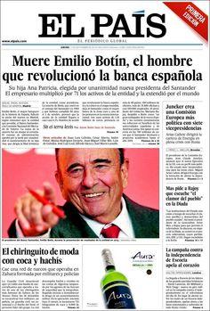 Portada de El País - Muerte de Emilio Botín