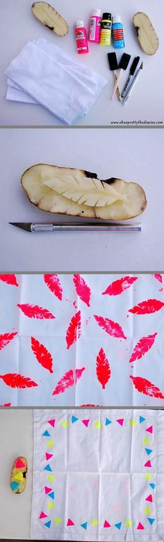 Potato stamping ideas. Pink feathers & colorful triangels. Easy DIY.