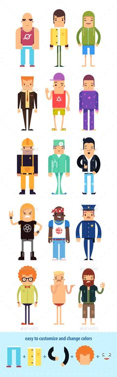 Flat Boy Character Creation Kit - Characters Vectors