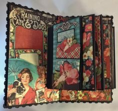 annes papercreations: Graphic 45 Raining Cats and Dogs Roof mini album tutorial finish part Graphic 45, Mini Albums, Mini Photo Albums, Mini Scrapbook Albums, Scrapbook Paper Crafts, Papel Scrapbook, Disney Scrapbook, Altered Books, Altered Art