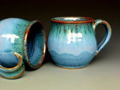 Blue Mug  Ceramic Coffee Mug Round by darshanpottery. beautiful shape and color!